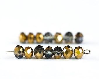 1677_Transparent grey, half golden beads, Faceted roundels crystals, Glass rondelle beads,Golden glass crystals,Grey glass beads 6 mm_95 pcs
