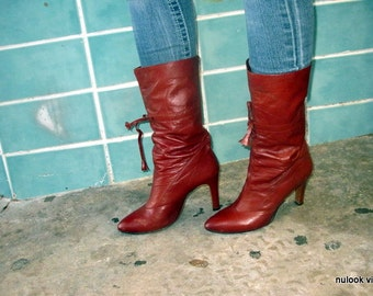 sz 9,5 m 70s vintage boots, boho hippie ox blood color leather high heel boots