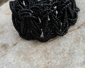 Black Woven Beaded Bracelet