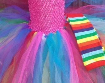 Rainbow Girls Dress, Toddler Clown Tutu, Rainbow Halloween Outfit, Girl Clown Costume, Clown Tutu Dress, Toddler Costume, Halloween Outfit