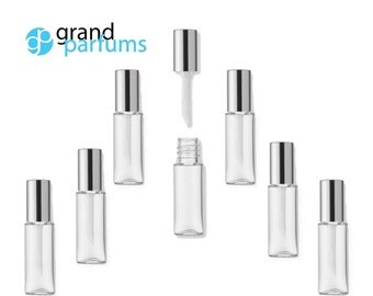 6 Lip Gloss 1.2ml Tubes w/ Metallic SILVER Wand Tops Sampling Favors Private Label Cosmetic Packaging Lipstick Balm Soft flocked Tip PVC
