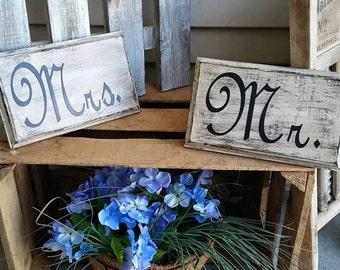 Rustic Mr & Mrs Signs