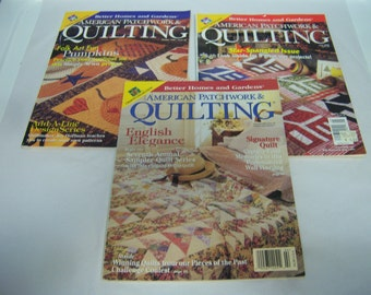 Three Quilting Magazines, American Patchwork and Quilting, By Better Homes and Garden, 1999-2000 Issues, Used Condition