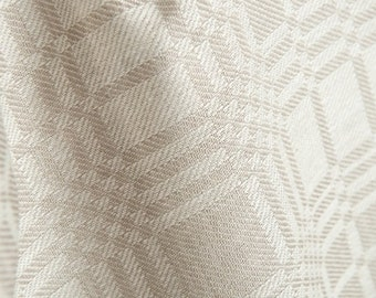Natural flax European linen fabric with ornaments - Gray linen fabric by the half yard