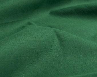 Green Linen fabric by the half yard - Green Flax European linen fabric - Green