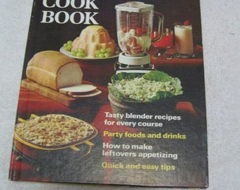 Vintage Blender Cookbook, 1971 Vintage Blender Cookbook, Party Foods & Drinks Cookbook, Hard Cover Book