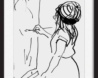 Ink drawing, Graphic art print, Black and white Sketch, Woman sketch print, Figurative wall art decor print, Modern artwork, Marker drawing