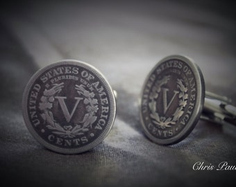 Liberty Nickel Cufflinks made from real coins
