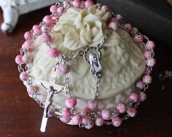 Pink Splattered Floral Rosary #73