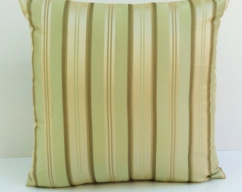 Baby Green Pillow, Throw Pillow Cover, Decorative Pillow Cover, Cushion Cover, Pillowcase, Accent Pillow, Toss Pillow, Silk Blend, Stripes