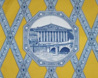 MANUEL CANOVAS French Parisian ARCHITECTURAL Toile Fabric 10 Yards Goldenrod Blue White