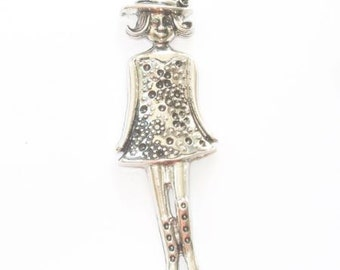 Daughter, little dress, hat in aged silver metal pendant