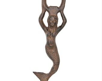 Cast Iron Mermaid Bottle Opener, Rustic