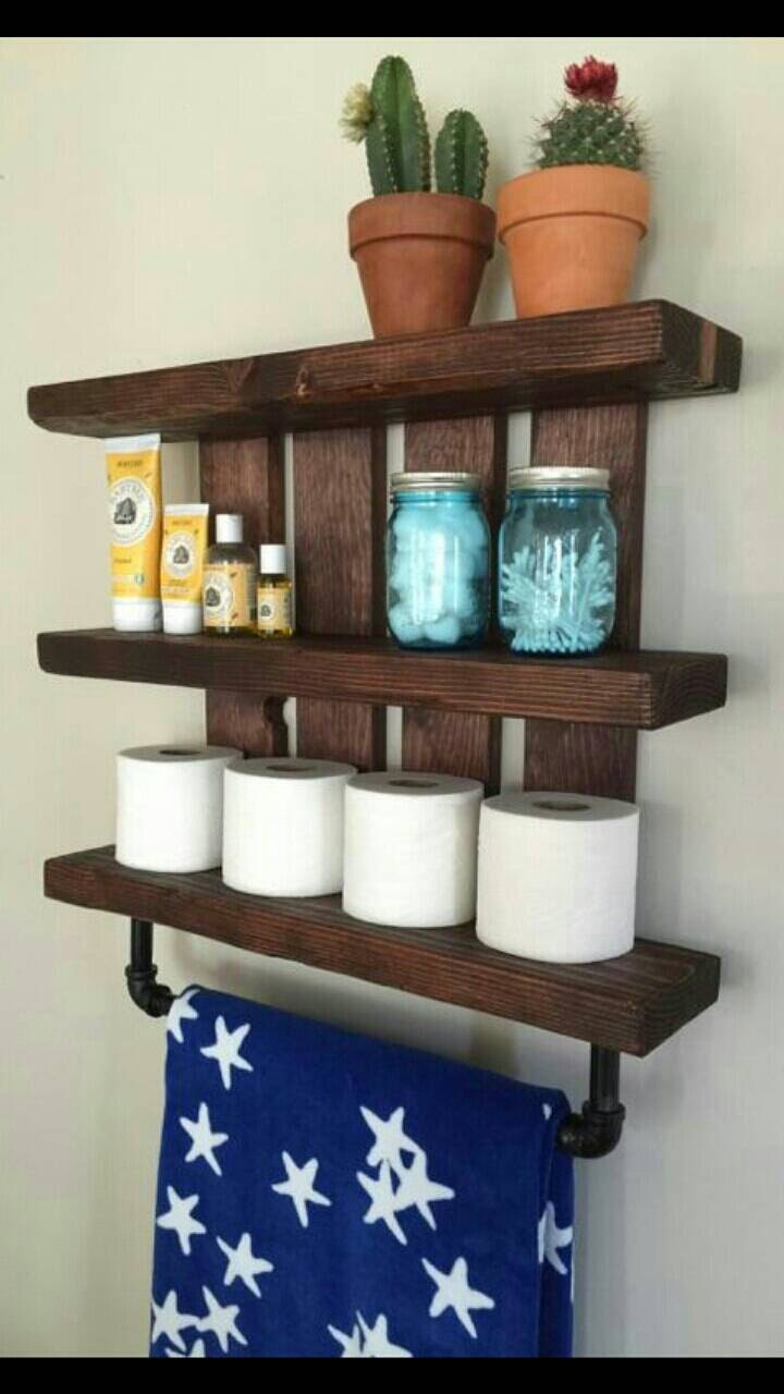 Rustic bathroom shelf w pipe towel rack home and living