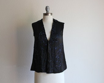 1920s Beaded Blouse / Black Forest Vest / Vintage 20s Silk Sleeveless Blouse / S