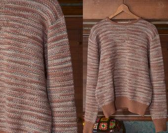 80's Knit Sweater Beige Brown 1980's Gianfranco Ruffini Sweater Vintage Women's Blouse Small Medium