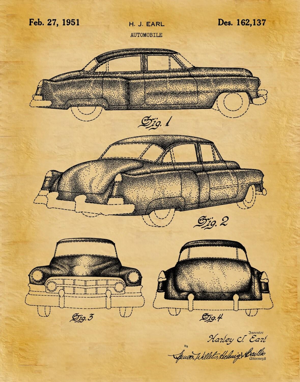 Patent 1951 Cadillac Automobile Design Patent Art Print