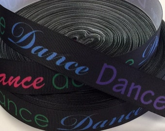1 Yard 7/8 inch  Dance on Black - Color Font  -  SPORTS -    Printed Grosgrain Ribbon for Hair Bow