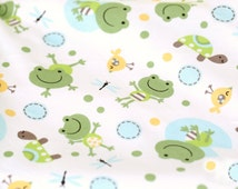 Width 66.93 inches Frog Cotton Fabric,animal Cotton Fabric For Child-0.5 meter(138-17)