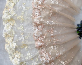 Width 7.08 inches lace trim,flowers embroidered lace,floral lace trim for bridal veil(111-66)