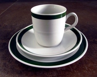 10% discount - Egersund from Norway - tea cup / coffee cup, saucer and side plate. Green ribbon. Design from Norway - midcentury