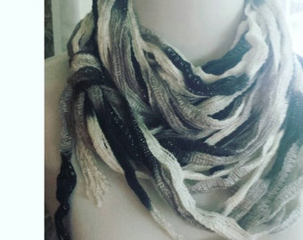 Women's scarf, Infinity scarf, American made monochromatic gray ombre mesh infinity scarf and necklace
