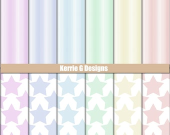 Digital Paper Packs pastel stars and stripes scrapbooking printable paper cardstock, Downloadable sheets, patterned digital backgrounds