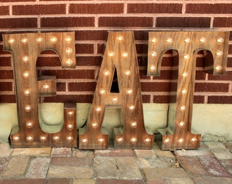 "36"" 3 Marquee light up letters, Eat Sign Lights, light bulb letters kitchen sign, eat light, Custom sign metal & distressed wood light"