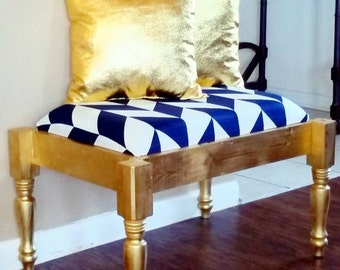Chic Ottoman in Blue and White