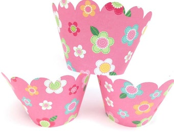 Cupcake Wrappers - Cupcake Liners - Floral Cupcake Wrapper - Pink cupcake wrappers - cupcake - girls birthday party