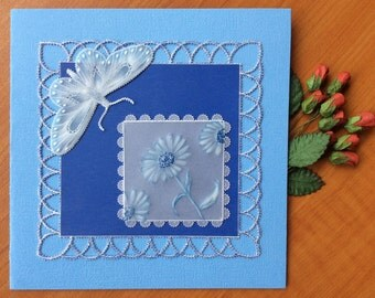 BLUE DAISY Gift Card Hand Made Using Parchment Craft Technique