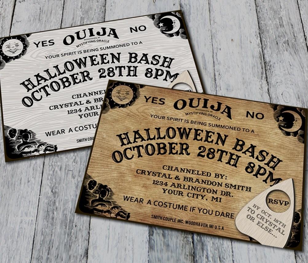 ouija board halloween party invitations digital. Black Bedroom Furniture Sets. Home Design Ideas