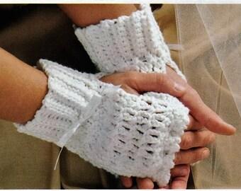 Crochet White Fingerless  Crochet Gloves Pattern-Digital Download
