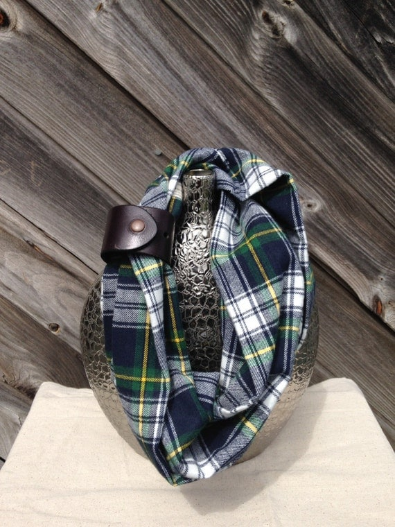 navy, green and cream plaid flannel eternity scarf with a brown leather cuff