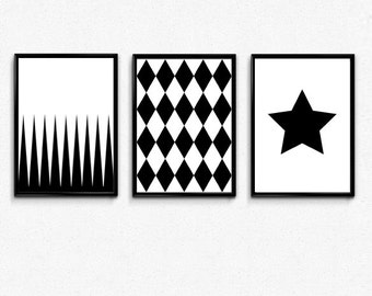 Set of 3 Prints, Art Set of 3 posters, Geometric print set of 3, Nordic Wall art, Triangle, big star, diamond 70x100, 50x70, A3