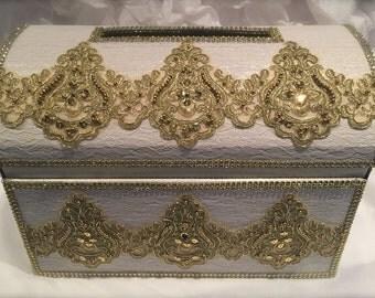 wedding moneybox/wedding card box/gold and white/wedding money box