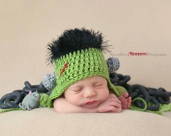 Frankenstein Hat Crochet Pattern for Newborns - Halloween Prop Hat Pattern - CROCHET PATTERN ONLY