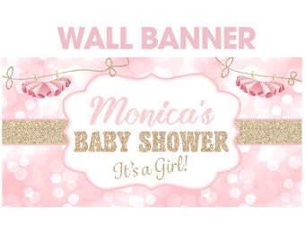 Tutu Glitter Baby Shower Personalized Banner - Baby Shower Banner- It's a Girl Large Banner, Vinyl Printed Backdrop