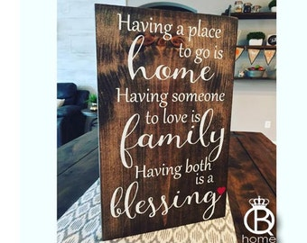 Home Family Blessing Wood Sign