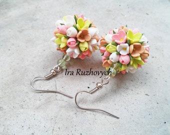 Ball earrings, stud earrings, necklace, Polymer Clay Jewelry, Handmade Flowers Set