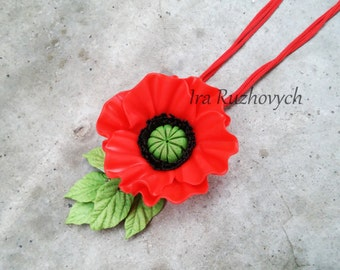 Poppies Necklace, Red, Flower Necklace