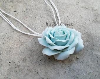Blue Rose Necklace, Flower Pendant