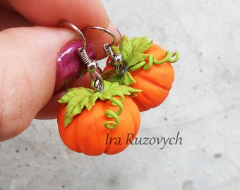 Pumpkin earrings, Halloween earringd