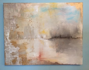 "Abstract Lake Gold Leaf Painting - 18"" x 24"" Original Art ""Golden Window to the Water"""
