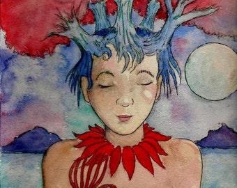 island head watercolor print