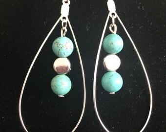 Tear-drop hoops with turquoise earrings