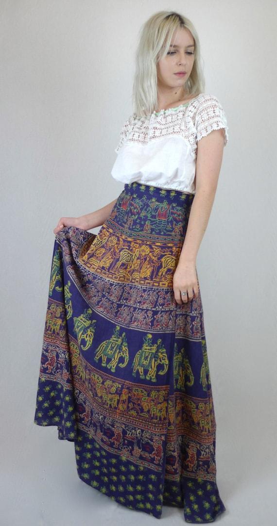 awesome vintage 70 u0026 39 s indian block print hippie maxi skirt