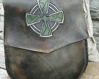 Leather Sporran, Celtic Cross, Leather Belt Pouch, Kilt Sporran, Leather Belt Bag, Celtic Pouch, Celtic Belt Bag, Midevil Bag, LARP Bag