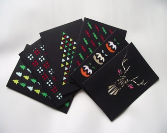 A6 Hand-Cut Christmas Card Pack of 6 Designs