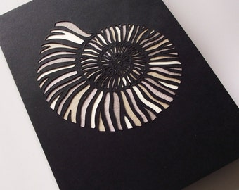 A6 Hand-Cut Ammonite Fossil Greetings Card